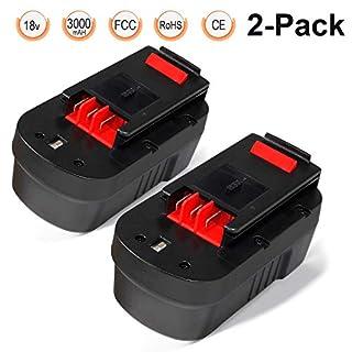 HPB18 Battery 18V 3.0Ah 2 Packs, LENOGE Black+Decker A18 A18E HPB18-OPE FSB18 FS18BX FS180BX 244760-00 Replacement Battery for Black and Decker GTC610 GPC1800 EPC188 HP188F2K Power Tool