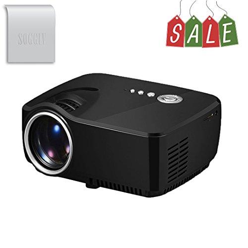 Soggiv Projector, Soggiv Mini Portable GP70 Full HD 1080p LED Multimedia Home Cinema 1200Lumens 150 Projector Support HDMI/USB/SD/AV/VGA/TV Input for Home Theatre PC Laptop Video Games TV Family Movie Night