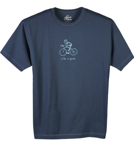 Life is Good Herren Organic Crunchy Jake Bike Short Sleeve Tee, Herren, meeresmotiv (Sleeve Jake Short Shirt)