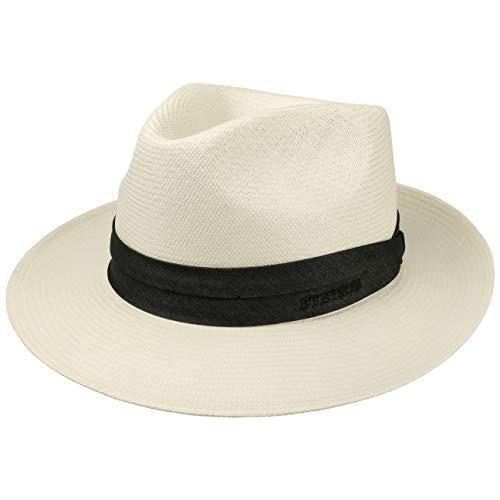Stetson Chapeau Jenkins Bleached Panama Homme - Made in Italy de Soleil d'été pour avec Ruban Gros Grain Printemps-ete - 55 cm Blanc Creme