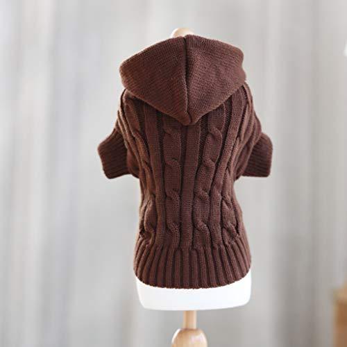 (ABLJ clothes for pets Pet Kleidung Hündchen Kleidung Herbst und Winter Tragen Kleine Hund Katze Haustier Pullover - braun - mit Mütze - XS)