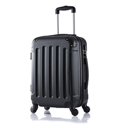 WOLTU RK4204sz-M-a Reisekoffer Koffer Trolley Hartschale mit erweiterbaren Volumen , 4 Rollen leicht Hartschale mit erweiterbaren Volumennkoffer Handgepäck , Schwarz M (56 cm & 42 Liter) - 2