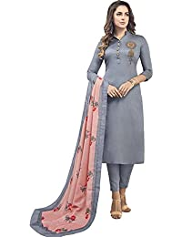 Impressed Collection Grey Heavy Jam Cotton With Designer Hand Work Long Stitched Suit