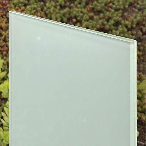 VSG Verbundsicherheitsglas matt, 10mm + 0,76mm Folie, mattweiß, nach Maß bis 240 x 480 cm. Zuschnitt bis 40 x 40 cm (400 x 400 mm), Kanten geschliffen und poliert, Ecken gestoßen.