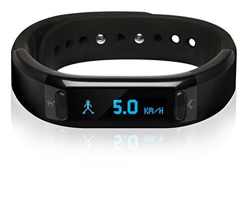 a-rival Qairós Fitnessarmband mit Smartphone Benachrichtigungen, Bluetooth 4.0 BLE, OLED Display, App für IOS und Android, IPX-7 Norm, 3D Beschleunigungssensor
