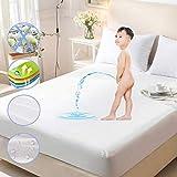 Naduew Funda de colchón antichinches, Impermeable, Funda Protectora de colchón Muy Suave Microfibra, Permite Que el Calor y la Humedad respiren Que bloquea la Humedad, el líquido