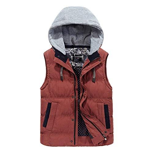 Gilet da uomo cappotto trapuntato cappuccio cappuccio casual moderna rimovibile giacca guanto giacca invernale cappotto cerniera bottoni monopetto cappotti caldi gilet ( color : arancia , size : 3xl )