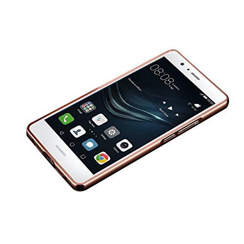Minto Luxus Aluminium Metall Spiegelhülle Schutzhülle iPhone 8 Plus / iPhone 7 Plus Spiegel PC Rückseite Case Cover Hülle + Metall Bumper Rahmen Silber Rosegold -p9 lite