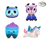 TATAFUN Squishy Kawaii,Squishy Juguete Jumbo Galaxy Squishy Unicornio Squishies Slow Rising Toys, Stress Reliever Suave Squeeze Squishy Juguetes para Niños Adultos (4PCS) de TATAFUN