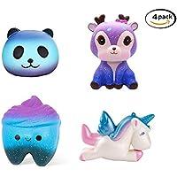 TATAFUN Squishy Kawaii,Squishy Juguete Jumbo Galaxy Squishy Unicornio Squishies Slow Rising Toys, Stress Reliever Suave Squeeze Squishy Juguetes para Niños Adultos (4PCS)