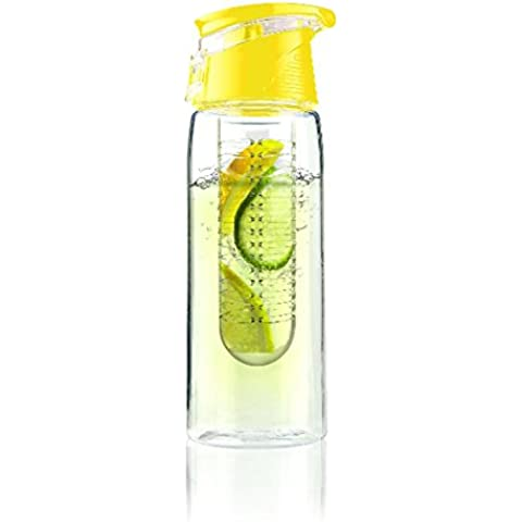 DCAE Botella de agua con infusor de frutas, asa, con tapa de bloqueo, libre de BPA -28 oz-made con Tritan Copolyester -- Perfecta para Viajar, Yoga, Oficina y Ciudad (muchos colores Opción)