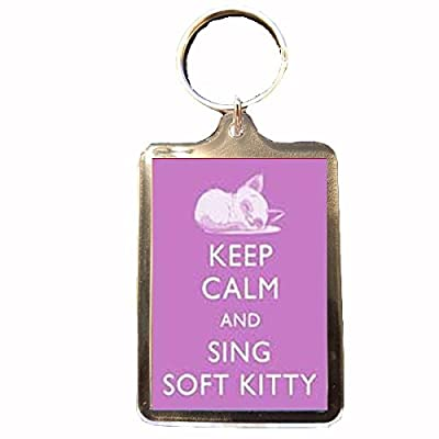Big Bang Theory - Keep Calm Keyring (Sing Soft Kitty - Pink)