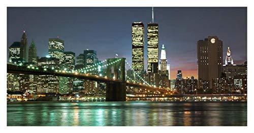 Global Gallery The Brooklyn Bridge and Twin Towers at Night-Paper Art 38In x 20In - Twin Towers, Brooklyn Bridge