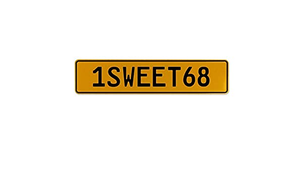 Vintage Parts 559318 Yellow Stamped Aluminum European Plate 1SWEET68