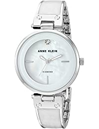 Anne Klein Women's AK/2513WTSV Diamond-Accented Silver-Tone And White Marbleized Bangle Watch