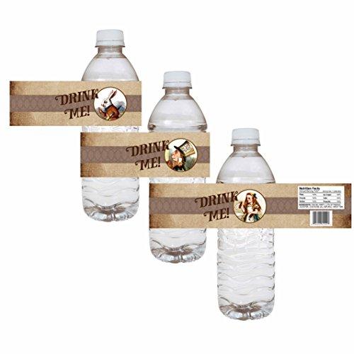 orations - EU Alice im Wunderland-Party-Wasser-Flaschen-Etiketten - Hochzeit Brautbabyparty-Getränk-Aufkleber - Satz von 12 ()