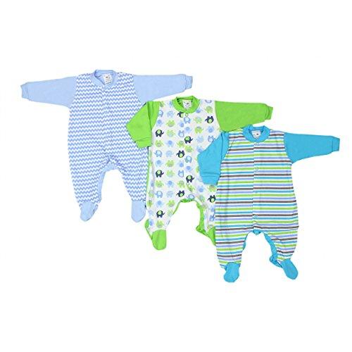 Baby Schlafstrampler Mädchen Schlafanzug 100% Baumwolle Jungen Schlafoverall im 3er PACK, Farbe: Junge, Größe: 62