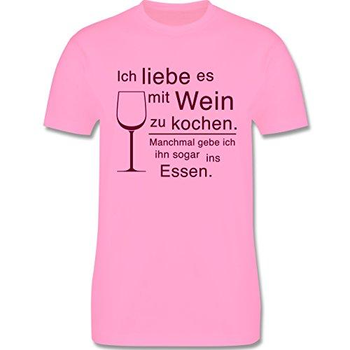 Küche - Ich liebe es mit Wein zu kochen - Herren Premium T-Shirt Rosa