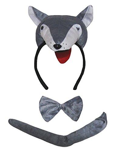 Petitebelle 3D-Stirnband Bowtie Schwanz 3pc Costume Einheitsgröße 3d Grauer Wolf