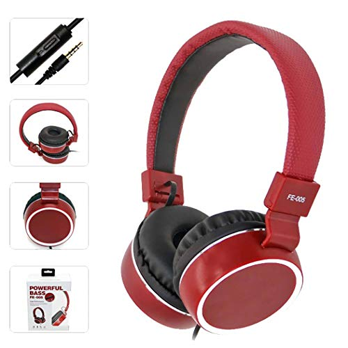 Mzq-yq Headset-Draht-Kopfhörer, Stereo-Faltendes verdrahtetes PU-Leder-Ohrenschützer, Universal-Mikrofon mit Mikrofon (Farbe : Rot)