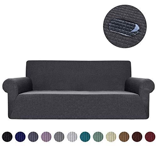 Ramotto copridivano, elastico impermeabile rimovibile fodere protector mobili coperture elasticizzato per cuscini divano in pelle per soggiorno, copridivano (grigio, 3 posti)