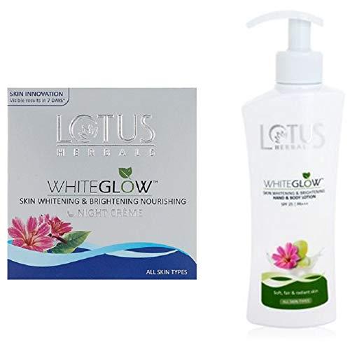 Lotus Herbals White Glow Skin Whitening And Brightening Nourishing Night Creme, 60g and Lotus Herbals White Glow Skin Whitening and Brightening SPF-25 Hand and Body Lotion, 300ml
