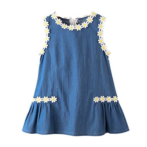by Mädchen Sonnenblume Denim Festzug Partei Prinzessin Kleid Outfit Kleidung 3-7 Jahre alt (Blau, 6T--120) (Kleinkind Mädchen Kostüm Pfau)