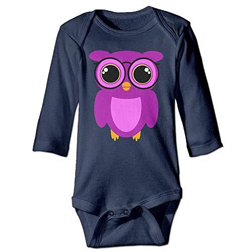 MSGDF Unisex Infant Bodysuits Cute Nerdy Owl Girls Babysuit Long Sleeve Jumpsuit Sunsuit Outfit Navy Owl Infant Bodysuit