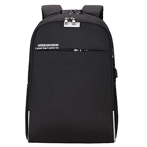 Willsego Unisex USB Bag Casual Bag Rucksack Reisetasche Business Rucksack Soft Computer Interlayer Tasche (Farbe : Schwarz) -