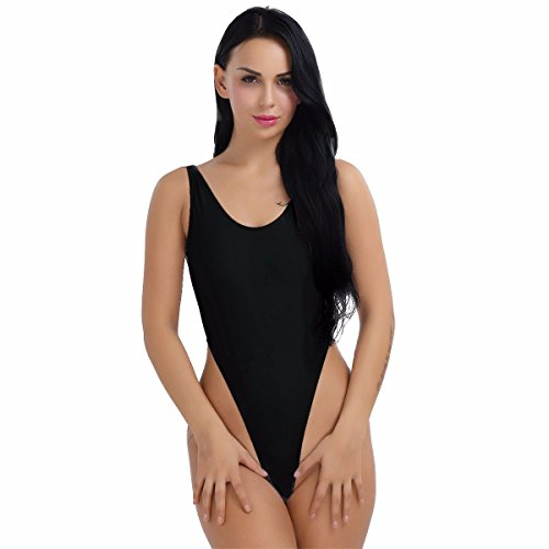 YiZYiF Damen Body Sportbody High Cut Rückenfrei Dessous Bodysuit Thong Leotard Bikini Badeanzug S M L XL 2XL (Schwarz, Medium) (Thong Body)