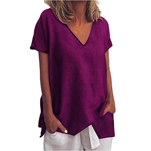 LOPILY Basic Oberteil Damen Lose Einfarbiges Kurzarm Tops V-Ausschnitt Freizeit T-Shirts Lässiges Tunika Wasserfall Saum Casual Urlaub Oberteil French Style (Lila, EU-42/CN-XL)