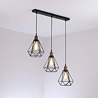 comeonlight® 3-Light Vintage Industrial Pendant Light Fixture Metal Ceiling Lamp Hanging Light Fixture for Kitchen Island Table Dining Room