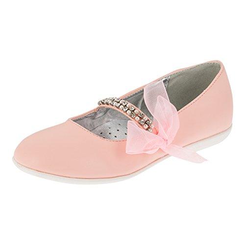 Giardino Doro Festliche Mädchen Ballerinas Schuhe mit Echt Leder Innensohle M412rs Rosa 37