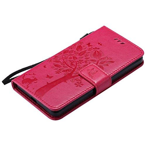 Custodia Microsoft Lumia 950 Cover Case, Ougger Fortunato Foglia Stampa Portafoglio PU Pelle Magnetico Stand Morbido Silicone Flip Bumper Protettivo Gomma Shell Borsa Custodie con Slot per Schede (Ner Rosa