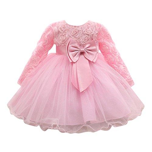 Lenfesh Baby Mädchen Blumen Bowknot Prinzessin Kleider Brautjungfer Geburtstag Hochzeit Kleid (18 Monate, Rosa) (Rosa Blumen-kleid Hübsche)