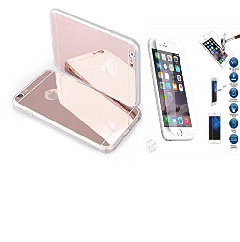 "Coque etui de protection iphone 5 5s silicone gel semi rigide effet miroir gold Rose +un film d'écran en Verre Trempé 9H BACK CASE ""MIRROR"" iPhone 5 5s"" iphone 5 5s gold Rose"