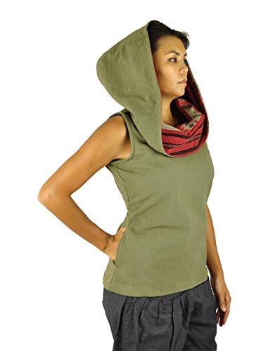 virblatt Taglia unica top con cappuccio senza maniche con cappuccio fatto di cotone vestiti etnici per la donna con motivi fatti a mano perfetto per le taglie S-M - Mystisch