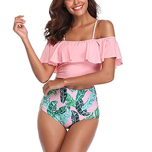 Lucky Mall Damen Mode Farbdruck Streifen Tupfen Badeanzug, Frauen Sommer Schwimmbekleidung Sling Tops mit Rüschen Badehose mit Hoher Taille Geteilter Bademode Zweiteiliger Strandmode Bikini Tankini