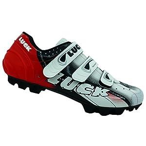 Zapatillas de Ciclismo LUCK Extreme 3.0 MTB,con Suela de Carbono y Triple Tira de Velcro de sujeción ademas de Puntera de Refuerzo. (39 EU, Rojo)