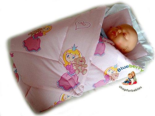 BlueberryShop klassisches Wickeltuch/Decke mit Kissen für Neugeborene, pinkes Prinzessinnenmuster