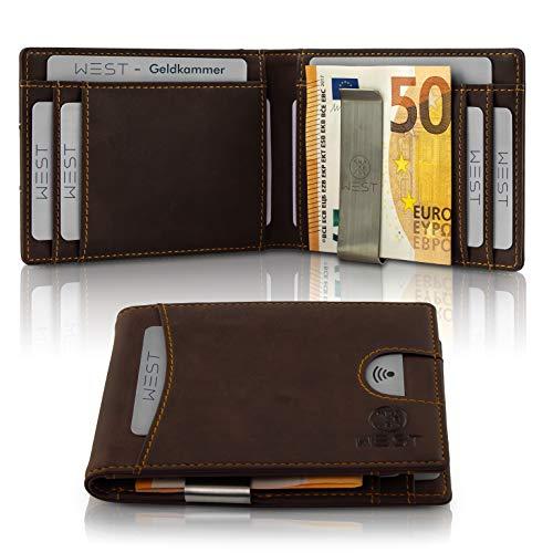 West - Geldbörse mit Geldklammer (Braun) - Der Klassiker - Geldklammer mit Kartenhalter für den Mann mit Stil - inklusive Edler Geschenkbox - Kreditkartenetui mit Kleingeldfach - RFID Datenschutz
