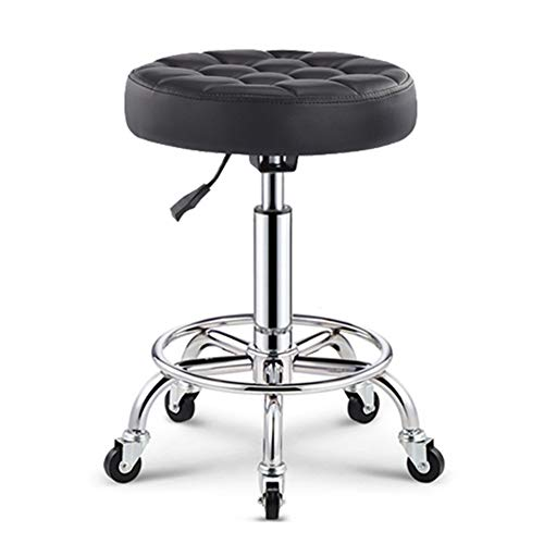 & Arbeitshocker, Faux PU Leder Massage Tattoo Beauty Salon Swivel Gaslift Hocker Stuhl (Farbe : Black Round Iron, größe : 48-63cm) ()