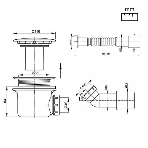Sif n para plato de ducha aquabad trapflex standard for Sifon plato ducha