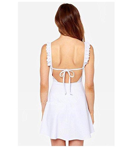 Frauen Trägerkleid Skaterkleid Minikleid Trägerkleid Zum Schnüren Rückenfrei Schmetterling Rüschen Kurze Uni-Farben Weiß