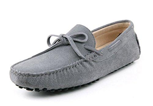 Minitoo Menneuen Knoten Suede Boat Shoes Slipper Penny Fahren Hellgrau