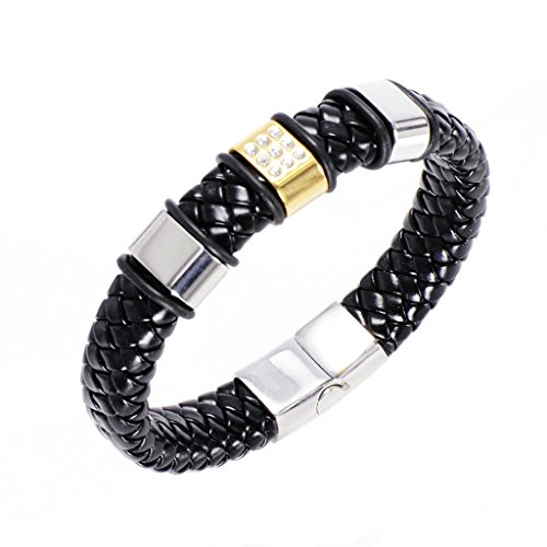 Kostüme Fosse (Adisaer Leder Armband Herren Silber Beads mit Platz Kristall Armreifen Gold Edelstahl Armbänder Für Männer)