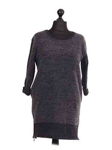 LavishFashionTown Top à manches longues - Femme Taille Unique Charbon