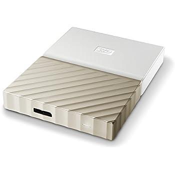 WD My Passport Ultra 2TB - Disco duro portátil y software de copia de seguridad automática para PC, Xbox One y PlayStation 4 - blanco / oro