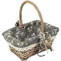 Woodluv Vintage Rectangle Wicker Hamper Storage Basket with Long Handle, Grey