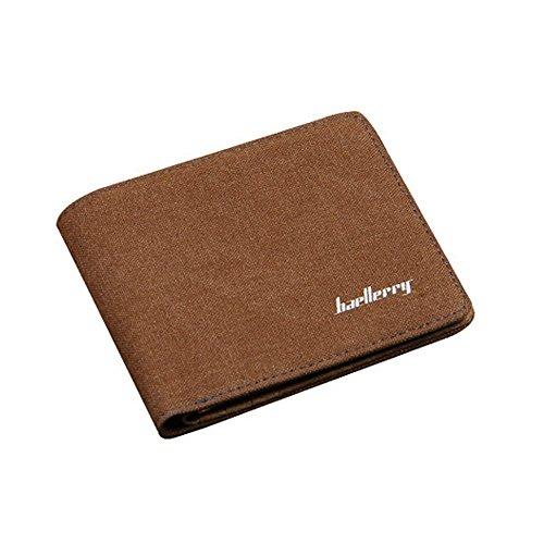 Männer/ Damen/ Teens Einfache Dünn Segeltuch-Mappe Portemonnaie, 3 Bargeldfächer (schließen Sie 1 Reißverschlusstasche ein) Braun